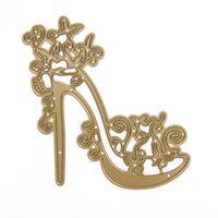 Wholesale dies for scrapbooking - High-heeled Shoes Metal Cutting Dies Stencil for Scrapbooking Album Decorative Dies Craft DIY Embossing Paper Card Cutter