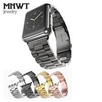 apfeluhr edelstahl schwarz großhandel-MNWT Für Apple Watch Strap 38mm 42mm Schwarz Goldene Edelstahl Armband Band Ersatz Armband für iwatch Serie 1 2 3