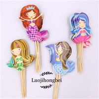 Wholesale cupcake toppers girl resale online - Cake Decoration Cupcake Topper Mermaid Dessert Table Decor Girls Kid Baby Shower Birthday Festive Party Supplies rb bb
