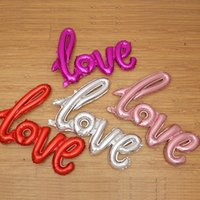 Wholesale Letter Balloons Love - 108*64cm Conjoined Airballoon Durable Aluminum Foil Balloon Self Sealing English Letter Love Shape Air Balloons Golden Red 2 53sl B