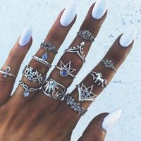 Wholesale ancient african jewelry - 13pcs Set Ancient Silver Unicorn Knuckle Ring Sets For Women Turkish Summer Beach Finger Jewelry Mixed Boho Flower Midi Rings