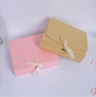grandes cajas de regalo rosa al por mayor-24.5 * 20 * 7 cm caja de Regalo de cartón grande con embalaje de la cinta favor de la boda Caja de embalaje de papel de Regalo de rectángulo Rosa Roja