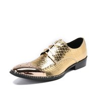 Wholesale pythons snakes - Luxury Mens Golden Dress Shoes British Designer Metal Toe Charm Lace Up Leather Shoes Python Snake Pattern Party Shoes 46