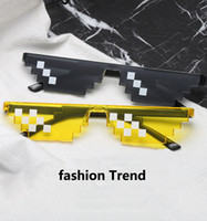 Wholesale pixel green - Deal With It Glasses 8 bits Mosaic Pixel Plastic Party Sunglasses Men Women Party Eyewear Dealwithit thug life Popular Around the World