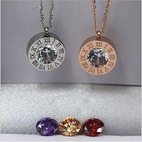 Wholesale united digital - New round of digital diamond Roman numerals titanium steel necklace trade titanium steel jewelry wholesale Europe and the United States to d