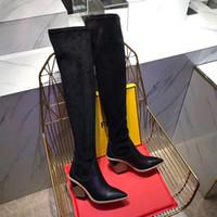 elastik çizmeler toptan satış-Bayan çorap çizmeler diz çizmeler üzerinde 24 inç örme seksi elastik süet moda marka uyluk yüksek orta topuk kış çizmeler 2018 Ile kutu