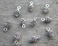 Wholesale pine cone charms - 30pcs--Pine Cone Charms, Antique Tibetan Silver Tone 3D Mini Pine Cone charm pendants 14X7mm