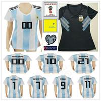 Wholesale black shorts ladies - 2018 World Cup Women Argentina Soccer Jersey 10 MESSI MARADONA 20 KUN AGUERO 21 DYBALA 6 BIGLIA Custom White Black Ladies Football Shirt