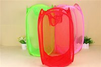 Wholesale nursery clothes online - Nursery Store Baskets Mesh Foldable Storage Basket Mesh Washing Basket Storage Basket Box For Toy Dirty Clothes Breathable Storage