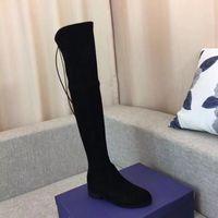 ingrosso le donne scarpe ginocchio-Stivali al ginocchio Stivali da neve Stivali in pelle casual Scarpe all'ultima moda per donna Scarpe in pelle di alta qualità