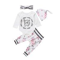 головной убор для девочек оптовых-2018  New Casual Newborn Baby Girls Cotton Outfits Long Sleeves Letter Romper Floral Pants Striped Headband Hat 4Pcs 3-24M