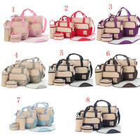 Wholesale mom bag set - 5Pcs Set Multifunctional Mummy diaper bags Handbag cartoon Mom Nappies Bags Baby Clothes Milk Bottle Storage Bag C3402