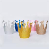 doğum günü partisi dekorasyonu prens toptan satış-6 adet Prens Prenses Taç Şapka Yetişkin Çocuk Bebek Doğum Günü Partisi Iyilik Çocuk Kap Hediye Taç Prenses Parti Dekorasyon