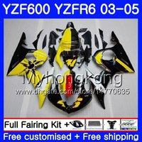 preto amarelo r6 venda por atacado-Corpo para YAMAHA YZF600 YZF R6 03 04 05 YZFR6 03 Carroçaria 228HM.16 YZF 600 R 6 YZF-600 YZF-R6 estoque preto amarelo 2003 2004 2005 Kit de Carcaças