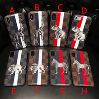 Wholesale iphone lion cases - New luxury brand striped plaid cartoon animal horse deer lion phone case for iphone X 7 7plus 8 8plus hard back cover for iphone 6 6S 6plus