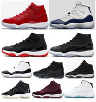 Wholesale black cap women - High Quality 11 11s Cap And Gown Bred Concords Basketball Shoes Men Women 11 Space Jam 45 Gym Red 72-10 Sneakers With Box