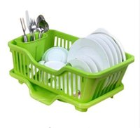 Wholesale Kitchen Dish Drainer - Home Washing Holder Basket PP Great Kitchen Sink Dish Drainer Drying Rack Organizer Blue Pink White Tray