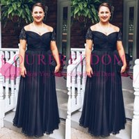 Wholesale cap sleeved dresses - 2018 Vintage Black Mother of the Bride Groom Dresses Square Neckline Short Sleeved Lace Chiffon Plus Size Evening Gowns Custom Made Hot Sale