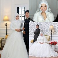 Wholesale hijab wedding dresses plus size - 2018 Modest Muslim Arabic High Neck Lace Wedding Dresses Long Sleeves Appliqued Hijab Bridal Gowns Plus Size