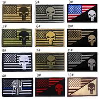 parches bordados banderas al por mayor-VP-162 Gran cantidad Bandera de EE. UU. + Punisher Parche táctico 3D de la línea azul EJÉRCITO Bordado Aplique Parche Gancho Insignia de Moral para gorra insignia