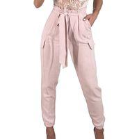 rosa haremhose großhandel-2018 Neuankömmlinge Mode Coole Hip Hop Frauen Hosen Weiß Rosa Knöchellänge Hosen Harem Sweatpants Hosen Frauen