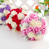 fleurs en mousse achat en gros de-3 Couleurs 25 * 30 cm De Mariage Bouquet De Mariée Tenant Un Bouquet Artificiel Rose Fleur En Mousse Fleur Pour La Mariée De Mariage Décorations Accessoires