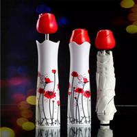vasos de garrafas de perfume venda por atacado-Perfume Rose Flor Vaso Umbrella Art Praia Garrafa De Vinho Guarda-chuvas Japoneses Rosa para atacado Criativo Ensolarado Chuva Fábrica HH7-886