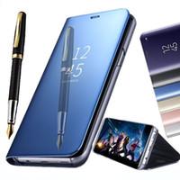 cubierta de espejo para iphone al por mayor-Funda del teléfono del soporte Electrochape Pata de Kickstand Inteligente Vista del Espejo Cubierta Flip Sleep Sleep para iPhone XS Max XR X 7 8 Plus Samsung S8 S9 plus Note 9 8