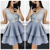 Wholesale Mini Lace Tiered Short Skirts - V-Neck Lace Appliques Top A-Line Homecoming Dresses Tiered Formal Special Occasion Prom Gowns Cheap Sleeveless Tiered Skirt Short Mini Sexy