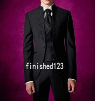 Wholesale Gray Wool Jacket High Collar - High Quality One Button Black Groom Tuxedos Stand Collar Groomsmen Best Man Mens Wedding Suits (Jacket+Pants+Vest+Tie) D:175