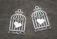 kuş kafesi cazibeleri toptan satış-12 adet / grup - Birdcage takılar, Antik Gümüş Vintage Aşk Kalpler Kuşlar Kafesleri Birdcage Charms Kolye 33x20mm