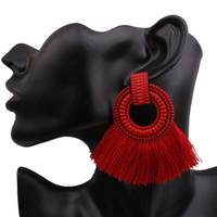 ingrosso orecchini a goccia grande rosso-Orecchini a goccia Boho NaomyZP per le donne Orecchini nappa grande dichiarazione Vintage Ciondola rosso rosa nero blu gioielli di moda