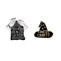 Wholesale asian girl collar for sale - Group buy Black Witch Hat And Sititch Sweater Enamel Brooch She s Crafty Stitch and Witch Lapel Pin Girl Badge Denim Collar Accessories