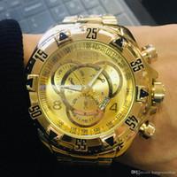 armbanduhren gute qualität großhandel-Gold Big Face Uhren Gute Qualität Invicta Edelstahlarmband Herrenuhren Quarz Armbanduhren Relogies für Männer Uhren Beste Gif