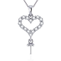 Wholesale silver necklaces online - Love Heart Pendant Mounting Paved With Clear zircons Sterling Silver