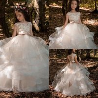 Wholesale Short Pageant Dresses For Kids - 2018 Flower Girls Dresses For Weddings Lace Applique Short Sleeves Beaded Sash Hollow Back Tiered Ruffles Kids Birthday Girl Pageant Gowns