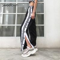 botões de cetim venda por atacado-Calças De Cetim Ocasional Sweetown Lado Botão Listrado Calças Divididas Mulheres Preto de Cintura Alta Sweatpants Reta Pantalon Femme Streetwear S914