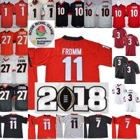 1612f0961 Georgia Bulldogs #11 Jake Fromm 27 Nick Chubb 7 D'Andre Swift 3 Roquan  Smith Black Red White NCAA 2018 Rose Bowl Championship Jerseys