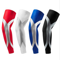 Wholesale cycling arms legs online - Men Sports Long Arm Sleeve Warmers Basketball Shooting Elbow Pads Protector Stretch Padded Support Guard Pad Cycling arm sleeve
