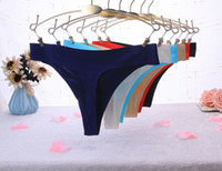 conforto da roupa interior venda por atacado-Womens Underwear Cintura Baixa Underwear Pedaço de Seda Gelo Sexy Underwear Comfort G-string das Mulheres Sexy Respirável T Calças