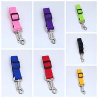 cinturones de seguridad para perros al por mayor-Ajustable Perro Asiento de seguridad cinturón de nylon Mascotas Cachorro asiento correa de plomo arnés del cinturón de seguridad del vehículo 7 color DDA485