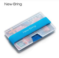 Wholesale fluorescence bead resale online - NewBring Summer Fluorescence Mini Credit Card Holder Man Business Card Money Small Wallet ID Holder Polycarbonate Clip Women