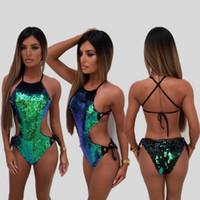 ingrosso verde per le donne-Donna Donna Paillettes Costume intero Bikini Verde Paillettes Tuta Fasciatura Tuta Abbigliamento da spiaggia Costumi da bagno LJJO3917