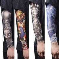 Wholesale tattoo arm covers - New Nylon Elastic Fake Temporary Tattoo Sleeves Tatoo Arm Stockings For Men Women Arm Warmer Covers