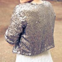 ingrosso spalline da sposa d'argento-Di lusso argento lucido grigio mezza manica paillettes giacche da sposa shrug formale donna matrimonio paese cappotti accessori da sposa