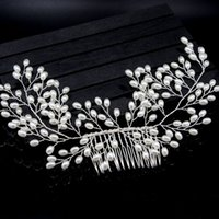 ingrosso pettini dei capelli di seta-1PC Nuziale Handmade Perla Capelli Pettine Tornante Prom Wedding Perni per capelli Ornamenti Accessori per gioielli da donna
