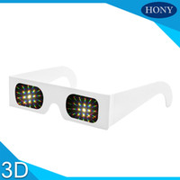 Wholesale Glass Fireworks - DHL Free shipping,200pcs Paper White Frame Fireworks diffraction glasses wholesale with 13500 light lens,3d prism rave glasses