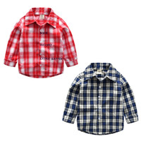 Wholesale clothes classic for baby boys for sale - Group buy 2 Color Boys Girls lattice shirt New Spring and summer Children lapel Long sleeves shirt Baby kids clothing for years