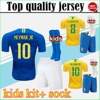 Wholesale yellow soccer kids - 18 19 D.COSTA COUTINHO kids soccer Jersey 2018 home Football uniforms kits COUTINHO G.JESUS DANI ALVES FIRMINO Children KIT +socks
