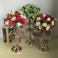 Wholesale l shaped vase for sale - Group buy Metal Flower Vases Gold Crown Shape Vase Fashion Wedding Exquisite Table Flower Rack Christmas Party Home Decoration